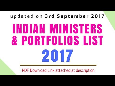 New Indian Cabinet Ministers & Portfolios List (After Modi Cabinet Reshuffle on 3rd September 2017)