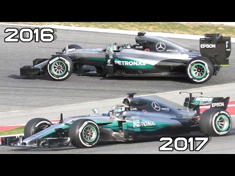 Formula 1 2017 (F1) SOUND - Hamilton testing New Mercedes F1 2017 vs F1 2016