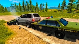 Police Chase Take Downs 9  - BeamNG.Drive Crashes