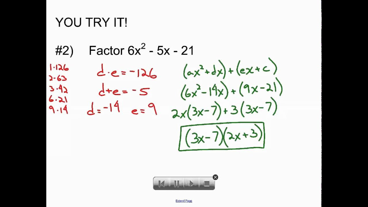 Enchanting College Algebra Factoring Arbeitsblatt Mold ...
