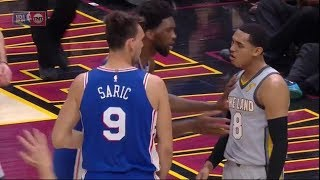 J.Clarckson fights Saric and LeBron James start owling at everyone