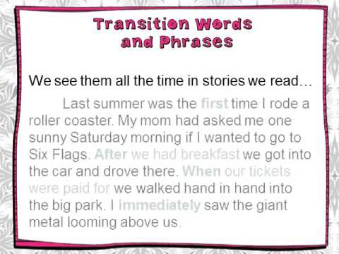 lesson 1   introducing transition words video sample
