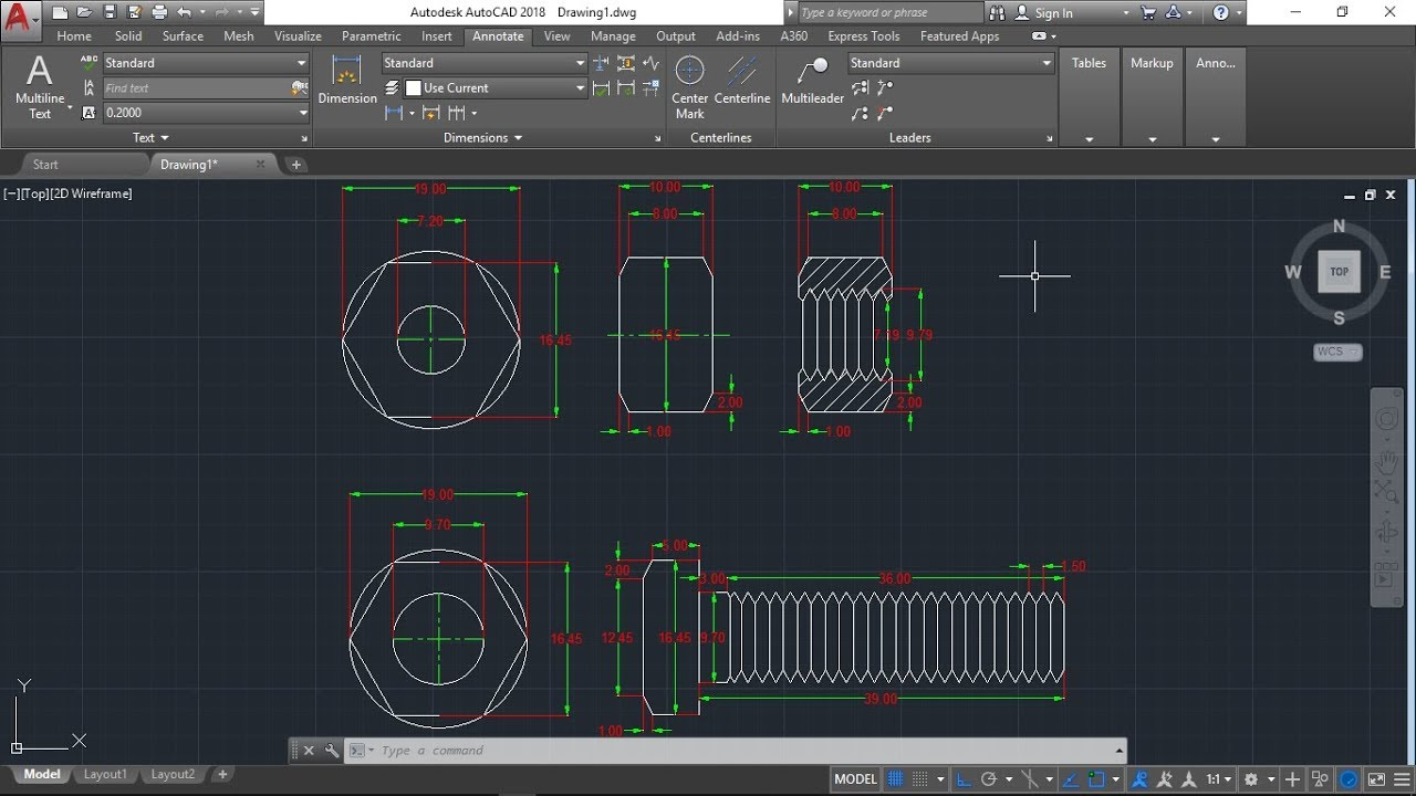 AutoCAD 2D, how to draw bolt and nut, autoCAD training part1