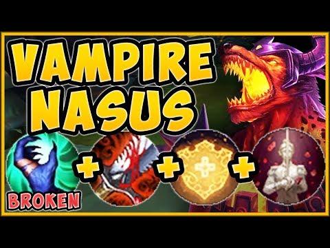 UHH RIOT?? ONE VAMPIRE NASUS Q = HEAL TO  HP?? VAMPIRE NASUS TOP GAMEPLAY - League of Legends
