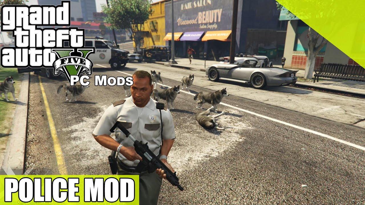 GTA V MOD - Un flic qui a du chien - YouTube