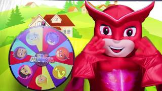pj masks game with owlette surprise toys from paw patrol spiderman peppa pig spin the wheel