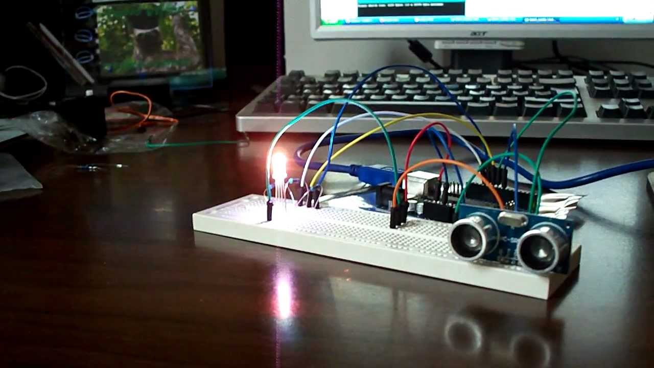 Arduino rgb led color change using ultrasonic sensor