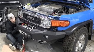 fj cruiser build pt 3 new door fender bumper and a winch that could pull a house down