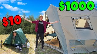 $10 Tent vs $1000 Tent OVERNIGHT Survival!
