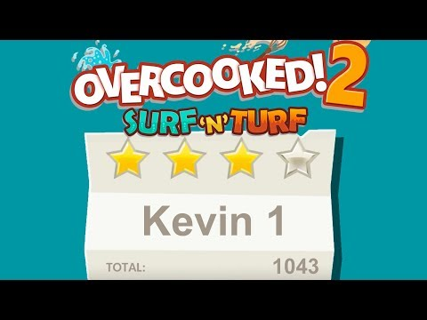 Overcooked 2. Surf 'n' Turf DLC. Kevin 1. 4 Stars. 2 Player Co-op  