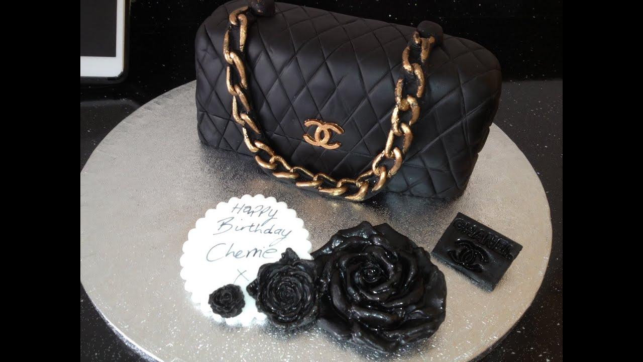 Black Chanel Handbag Cake