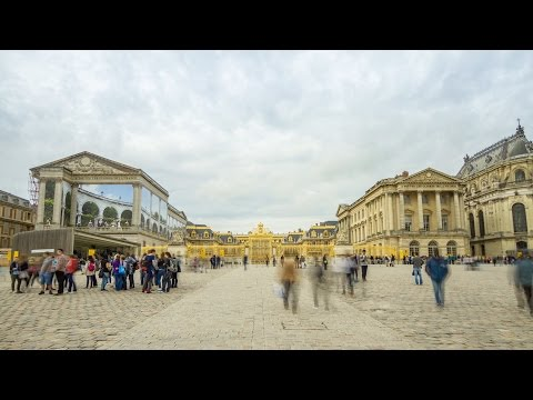 Palace of Versailles Entrance & Tourists, Time Lapse (Royalty Free Footage)