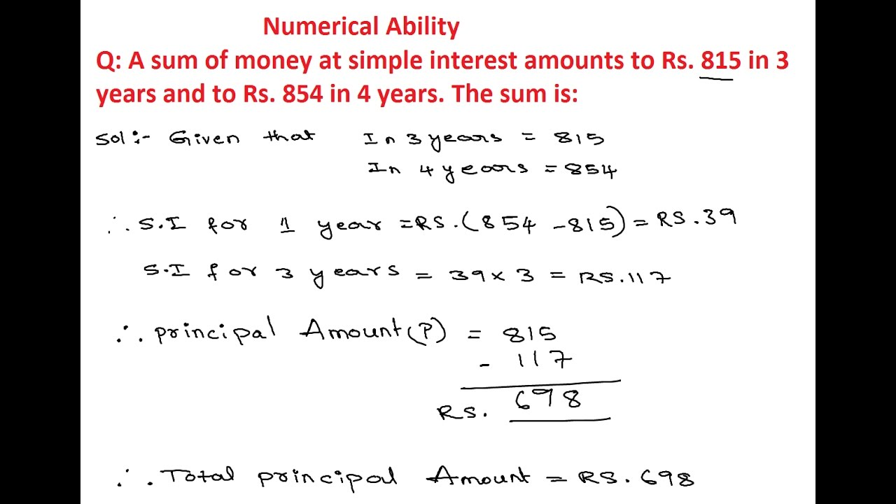 Numerical Ability 10 | Simple Intrest And Compound Interest Questions and  Answers