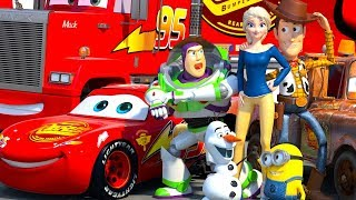 Disney Pixar CARS meet TOY STORY Lightning McQueen Buzz Lightyear & Woody ANIMATION SHORT thumbnail