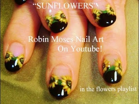 - Sunflower Nail Art Design Tutorial! - YouTube
