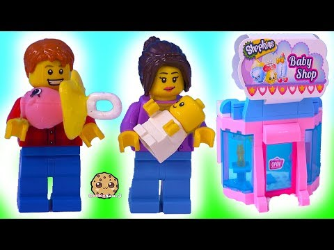 Baby At Babies Store ! LEGO + Shopkins  Toy Play Video - Coo