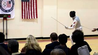 Pre-Olympic foil fencing exhibition bout - Gerek Meinhardt, U.S. vs Shu Jun, China