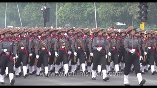 Indian Army battle tanks and women contingent of Assam rifles march at Republic Day Rehearsal