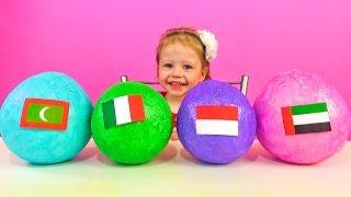 Необычные сюрпризы с сувенирами из разных стран мира. Большой киндер сюрприз. Развивающее видео