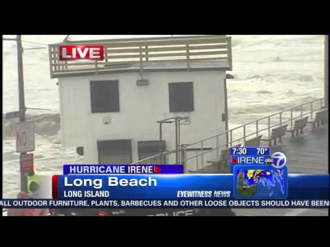 Hurricane Irene - Long Beach, NY Lifeguard Shack taken into boardwalk LIVE on TV