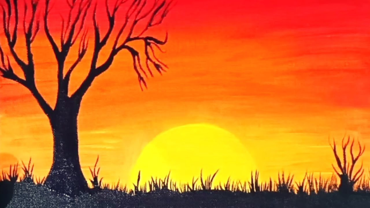 Easy Sunset Painting For Beginners / Step by step Tutorial ...