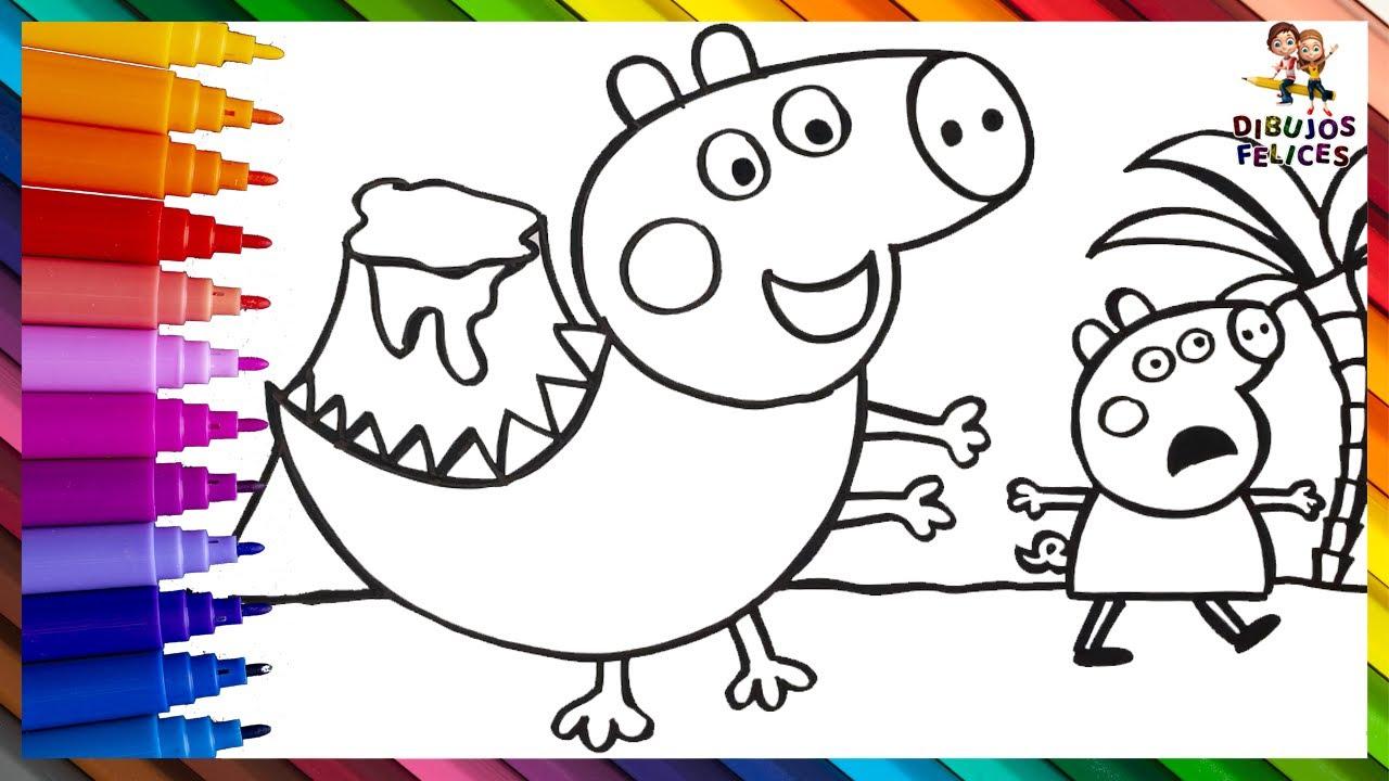 Dibuja y Colorea A Peppa Pig Y Dinosaurio George Pig 🐷🦖🌋 Dibujos Para Niños