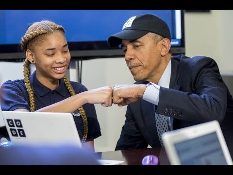 President Obama does the Hour of Code