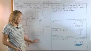 Volumen de un prisma rectangular, y unidades cúbicas