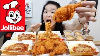 JOLLIBEE!! Chicken Joy Spicy Fried Chicken, Spaghetti Noodles & Mash Potatoes | Eating Show Mukbang