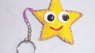 Repeat youtube video How to make a star mini felt plushie key chain - EP - simplekidscrafts