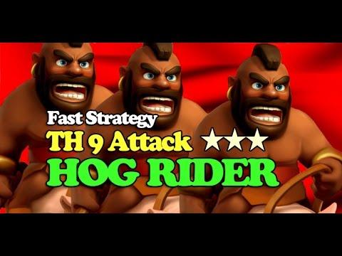 Download Clash Of Clans TH9 War Strategy Hog Rider Attack #Part 2 | 100% Work