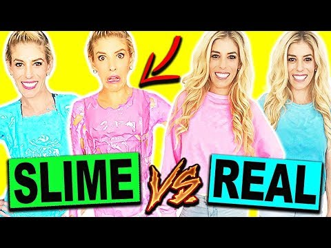 DIY SLIME CLOTHES VS. REAL CLOTHES CHALLENGE!! *SHOCKING AND HILARIOUS*