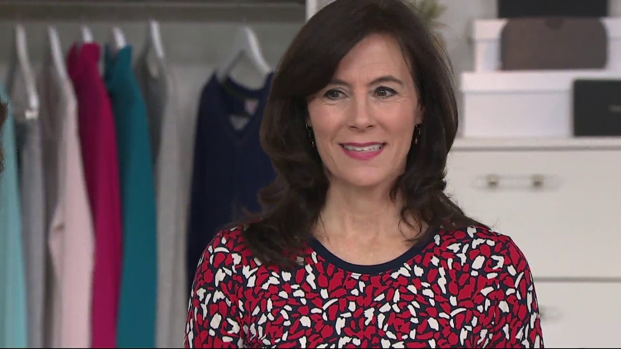 4b2eb3154166c Susan Graver Printed Liquid Knit Top with Lacing on QVC - YouTube