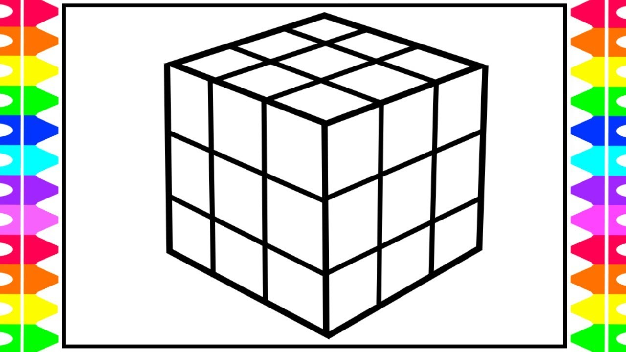 How to Draw a Rubik's Cube for Kids ️💙💚Rubik's Cube ...