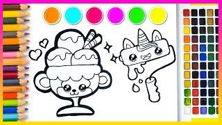 Cara Menggambar dan Mewarnai Cute Monkey Ice Cream ~ Pony Toy Art  ~ ☆