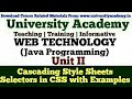 L25:Web Technology,CSS,Cascading Style Sheets,Internal CSS,External CSS,Selector in CSS in hindi