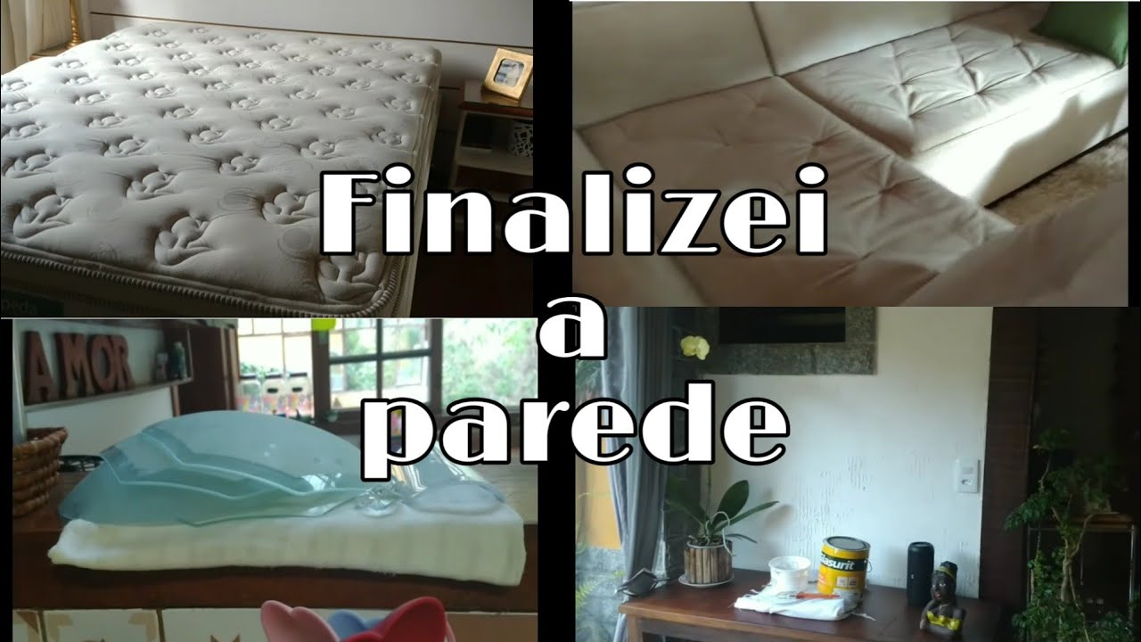 Limpeza dos estofados/lavei os lustres/parede pintada
