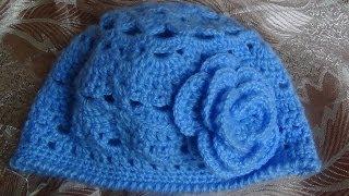 Голубая весенняя шапочка крючком.Часть 1 .Spring cap crochet.part 1