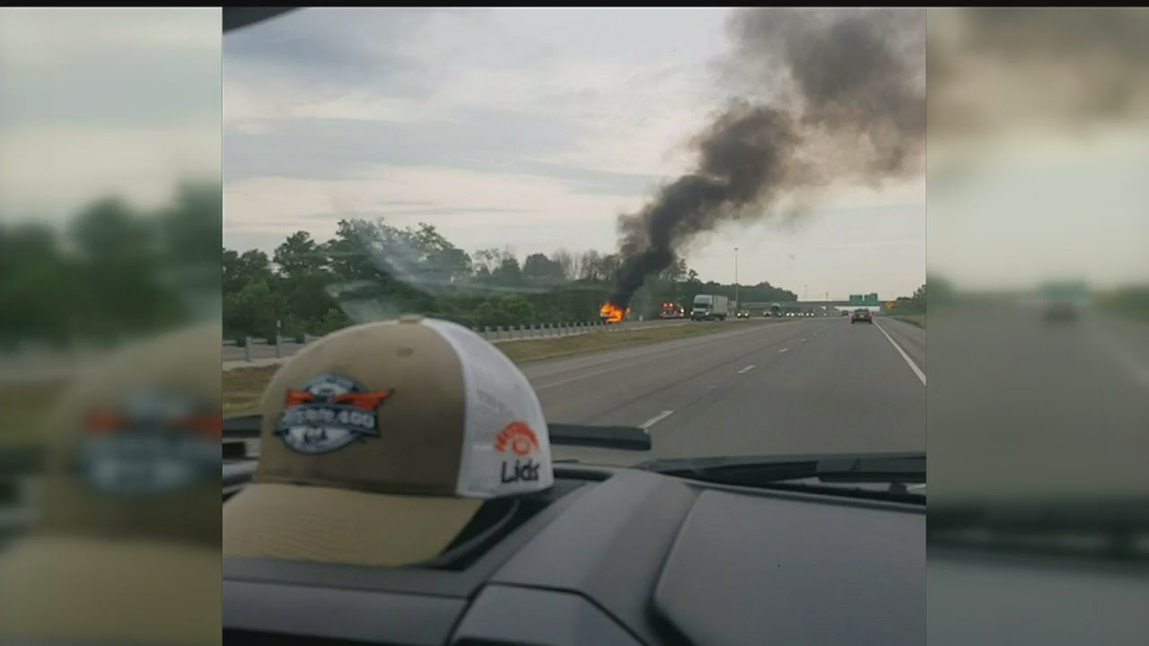 FedEx truck catches fire on Ohio Turnpike