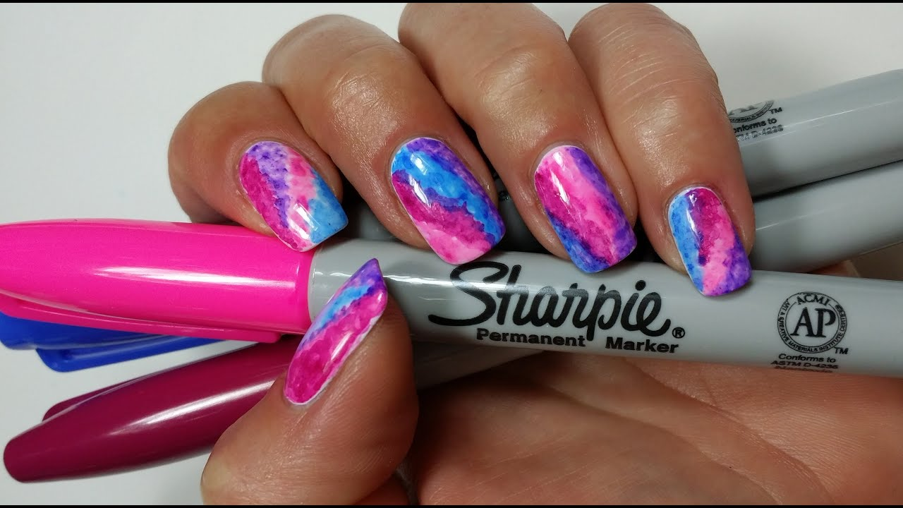 Sharpie Watercolor Nail Art!  YouTube