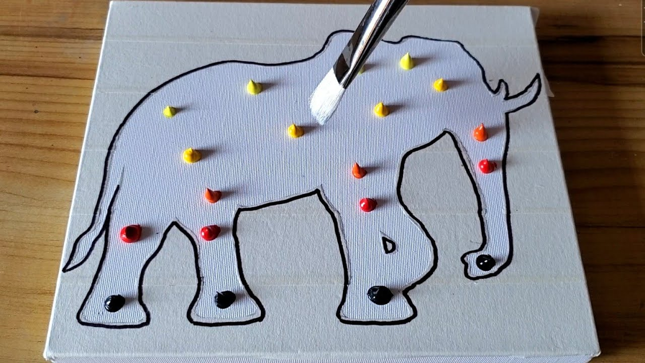 Elephant / Double Exposure Painting / Easy Masking Tape Satisfying / Project 100 Days / Day #90