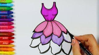Wie zeichne lila Kleid 💜  Malvorlagen   Malbücher   Zeichnen, Farbe und Ausmalen für Kinder