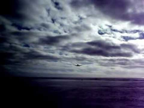 Airplane landing in Rarotonga, Cook Islands