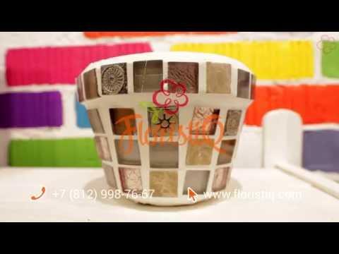Декор горшка для цветов с помощью керамической плитки .DIY