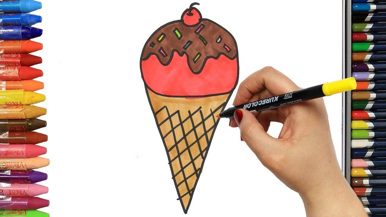 Wie zeichnet man Eis mit Süßigkeiten | Ausmalen Kinder ...