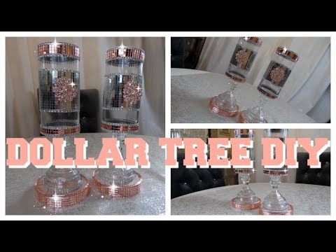 DIY DOLLAR TREE  HOME DECOR BLING AND ROSE GOLD VASE