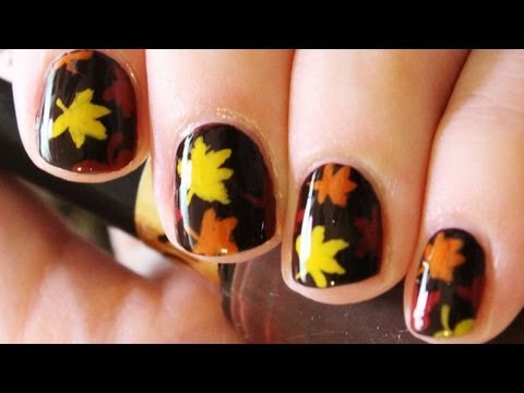 Simple Fall Leaves Nail Art - YouTube