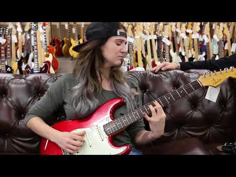 MB Padfield playing a 1963 Fender Stratocaster Candy Apple Red at Norman's Rare Guitars