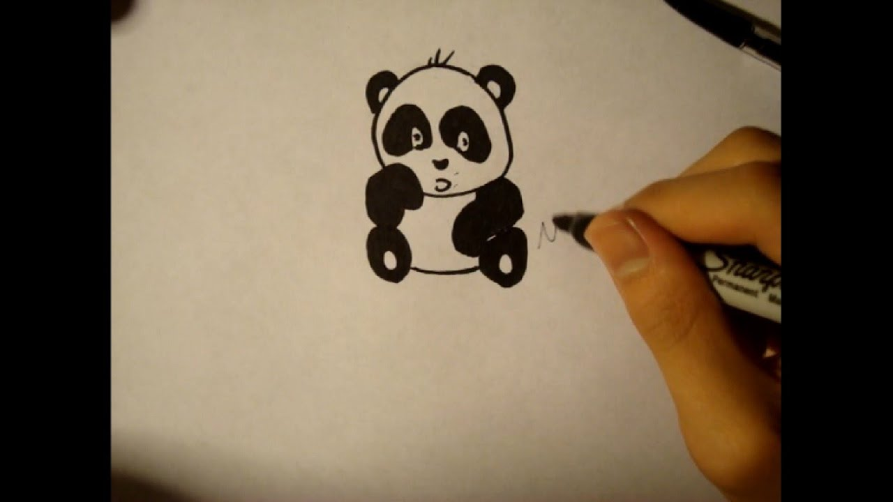 How to draw a cute baby panda - photo#11