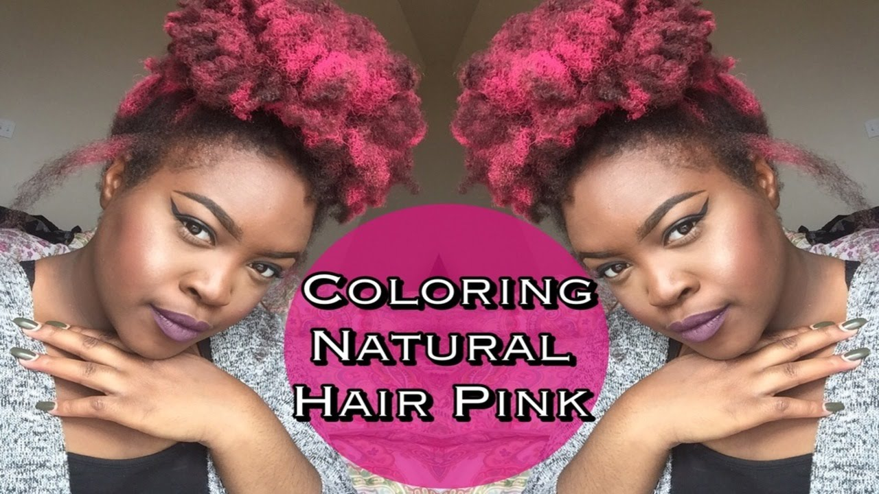 HOW TO: COLOR NATURAL HAIR PINK [NO DYE] + JEROME RUSSEL COLORING SPRAY